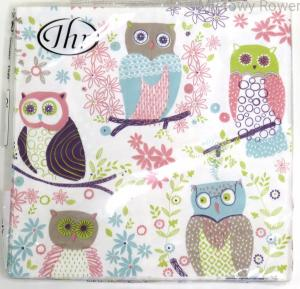 SERWETKI decoupage 20szt JOLLY OWLS LIGHT GREEN