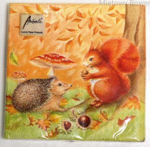 SERWETKI decoupage 20szt HEDGEHOG AND SQUIRREL