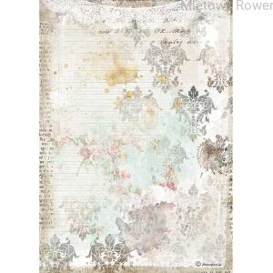 PAPIER RYŻOWY A4 ROMANTIC JOURNAL TEXTURE WITH LACE DFSA4556 STAMPERIA