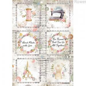 PAPIER RYŻOWY A4 ROMANTIC THREADS MINI CARDS DFSA4568 STAMPERIA