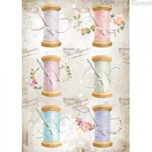 PAPIER RYŻOWY A4 ROMANTIC THREADS NEEDLE AND THREAD DFSA4567 STAMPERIA